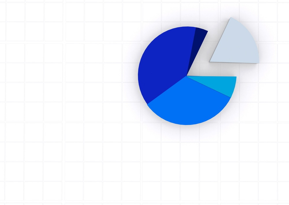 blue pie chart on a white grid